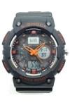 ALIKE นาฬิกาข้อมือชาย 2 ระบบ เข็มสีส้ม สายพลาสติก - สีดำ/ส้ม
