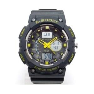 ALIKE นาฬิกาข้อมือชาย 2 ระบบ เข็มเหลือง สายพลาสติก - สีดำ/เหลือง