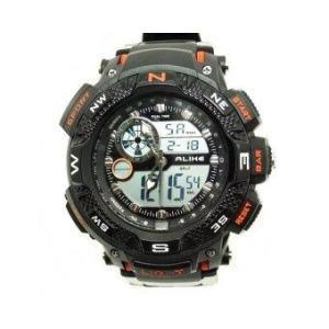 ALIKE นาฬิกาข้อมือชาย 2 ระบบ สายพลาสติก (สีดำ/ส้ม)