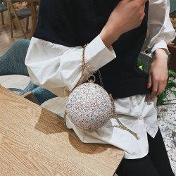 Fashion Round Bag Sequins Evening Bag Wedding Party Purse Shoulder Crossbody Bag for Women
