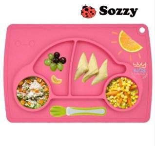 จานซิลิโคนทานอาหารเด็กน้อย ลายรถเต่าสีชมพู Sozzy