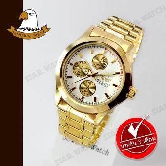 AMERICA EAGLE นาฬิกาข้อมือสุภาพบุรุษ สายสแตนเลส รุ่น AE010G - Gold