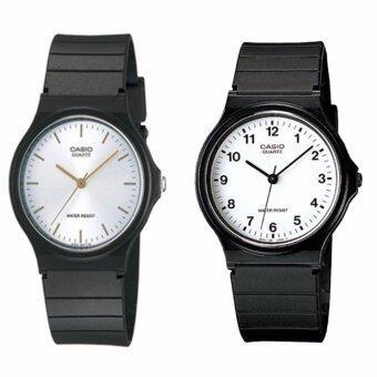 Casio นาฬิกาข้อมือผู้ชาย สีดำ สายเรซิ่น รุ่น MQ-24-7B และ MQ-24-7E2 แพ็คคู่
