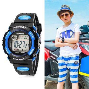 เด็กหนุ่มเด็กสาวหลายฟังก์ชันที่กันน้ำนาฬิกาข้อมืออิเล็กทรอนิกส์กีฬาสีน้ำเงิน