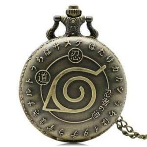 Vintage Bronze Naruto Quartz Necklace Pendant Pocket Watch Chian -intl