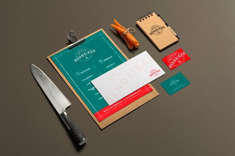 imagem de papelaria e menu criado para bar