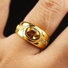 แหวนพลอยซิทรินแท้ (Natural Citrine) อัญมณีแห่งความรัก เรือนเงินแท้92.5% ชุบทอง บ่าข้างประดับเพชรCZเกรดA ไซส์นิ้ว61 หรือ เบอร์ 9 US พลอยแท้จากประเทศบราซิล.