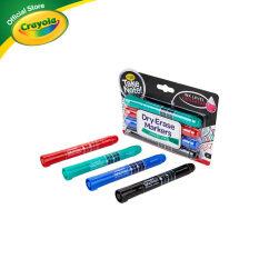 [ส่งฟรี]Crayola Take Note 4 Colors Board Line Low Odor Whiteboard Marker เครโยล่า สีเมจิกเขียนไวท์บอร์ดหัวใหญ่ 4 สี สำหรับเด็ก อายุ 10 ปี ขึ้นไป สีเมจิก เมจิก ปากกาไวท์บอร์ด