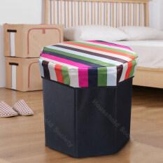 HHsociety กล่องเก็บของ กล่องจัดระเบียบ กล่องเอกสารพับเก็บได้ กล่องใส่ของ 30x30x30 cm กล่องผ้า ตะกร้าเก็บของ Storage Box เก้าอี้สตูล 8 เหลี่ยม