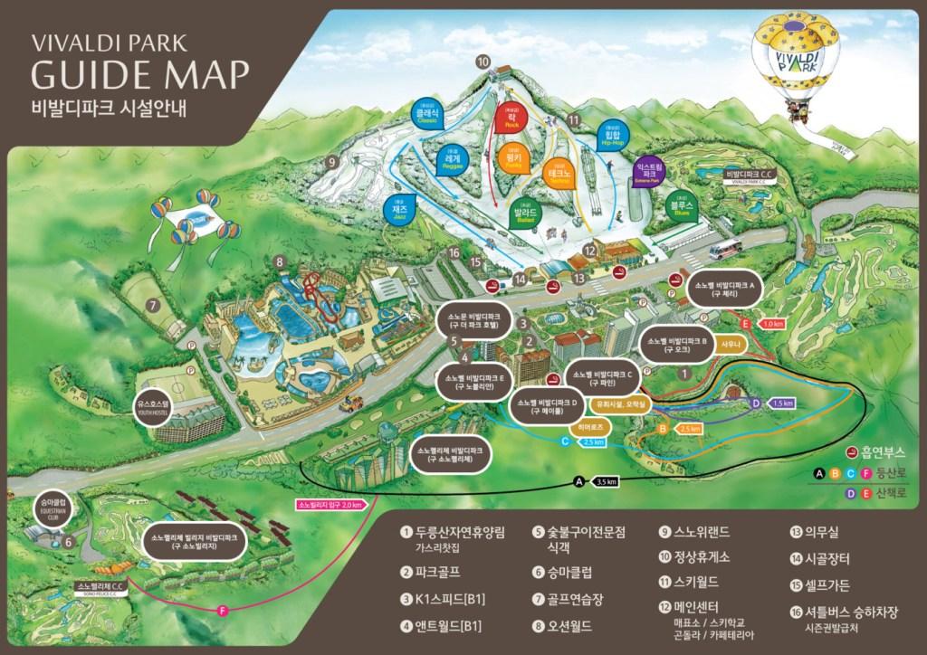 แผนที่ Daemyung Resort: Vivaldi Ski World (แดเมียง รีสอร์ท: วิวาลดี สกีเวิลด์)