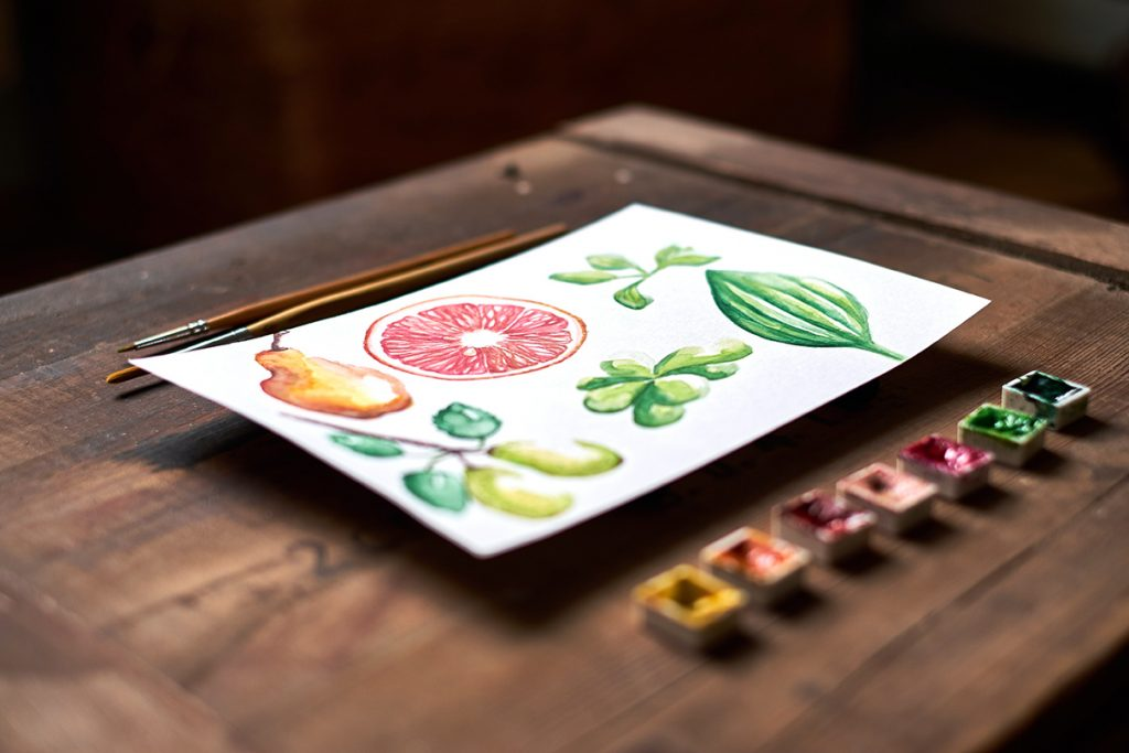 Watercolor set with summer fruit watercolor painting