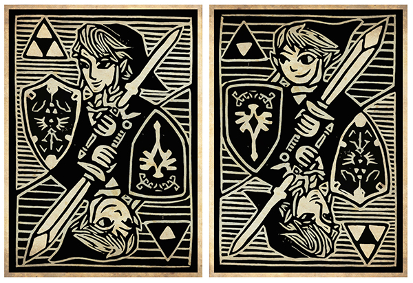 woodcut art by brian reedy link zelda