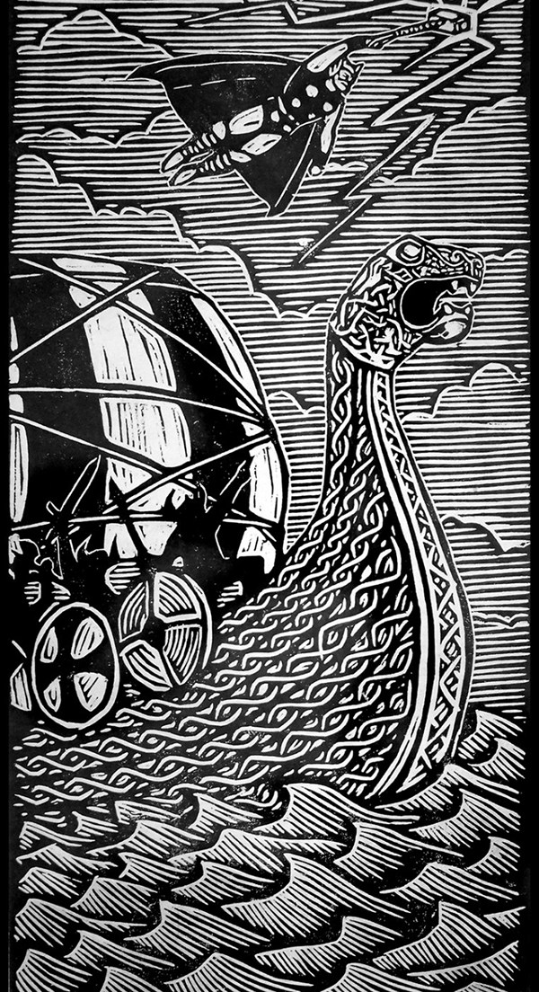 woodcut art by brian reedy thor