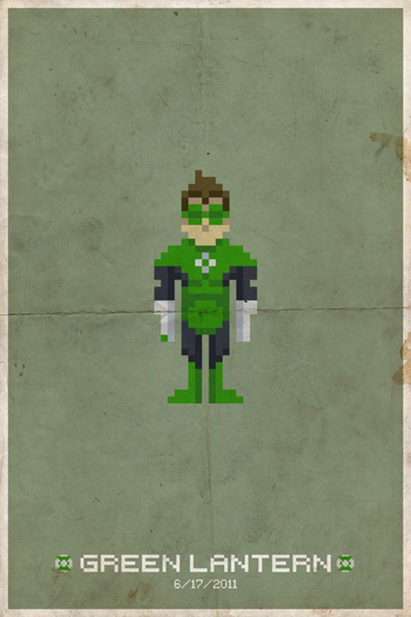 Comic Book Pixel Art Movie Character by Michael Myers Green Lantern