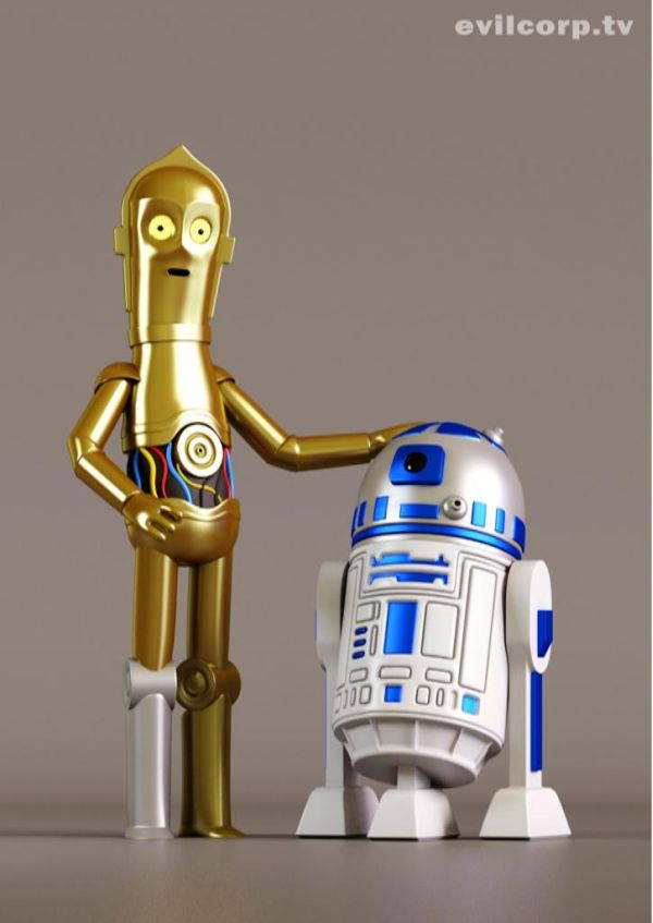 Star Wars Digital Vinyl Caricature by Evil Corp C3PO R2D2