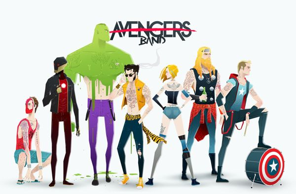 Comic Book Superheroes as Rock Stars by Andrés Moncayo Avengers
