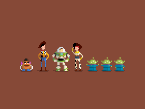 Pixel Characters by Huang Kate Toy Story