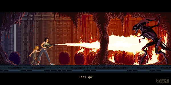 Cult Movies Pixel Art by Gustavo Viselner Aliens