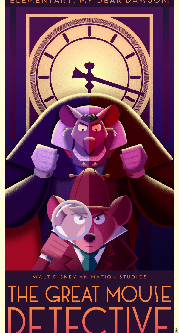 Disney Art Poster by David G. Ferrero The Great Mouse Detective