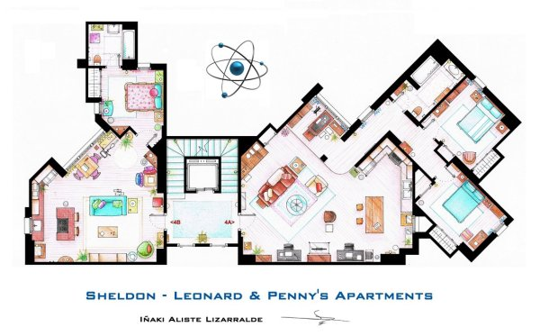 Floor Plans of Popular TV and Film Homes by Iñaki Aliste Lizarralde Big Bang