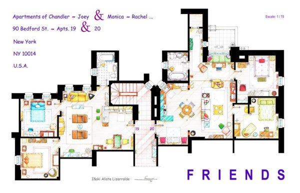 Floor Plans of Popular TV and Film Homes by Iñaki Aliste Lizarralde Friends Floor
