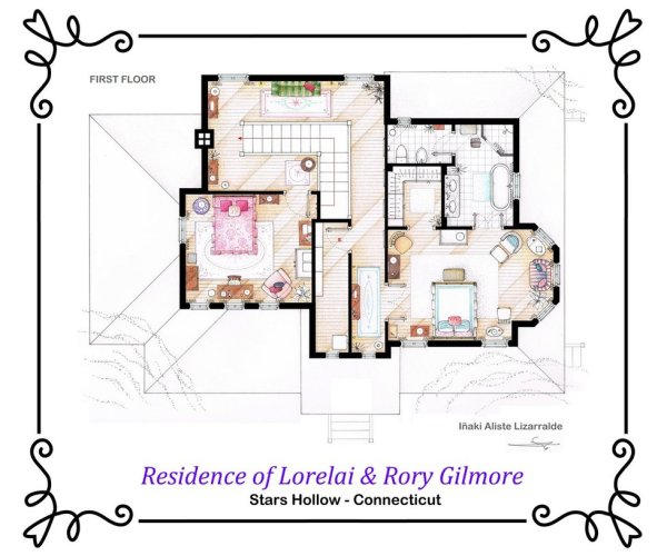 Floor Plans of Popular TV and Film Homes by Iñaki Aliste Lizarralde Gilmore Girls First Floor