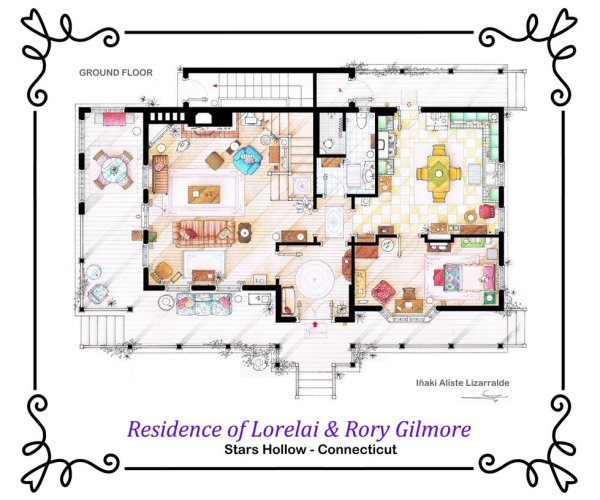 Floor Plans of Popular TV and Film Homes by Iñaki Aliste Lizarralde Gilmore Girls Ground Floor