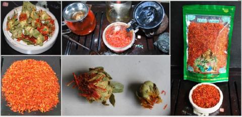 Safflor/Färberdistel-Tee, Doi Mae Salong, Nord-Thailand, Collage