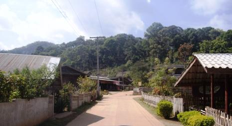 Hauptstraße des Teedorfs Pang Kahm