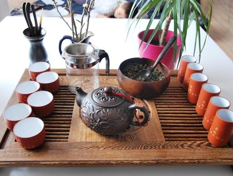 Gong Fu Cha Setup 1, Vorbereitung/Anrichtung der Teezeremonie