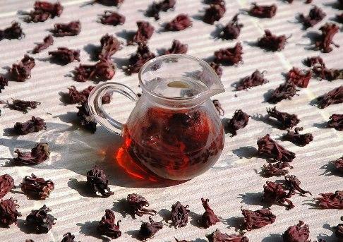 Roselle Hibiskus, Blütenkelche und Tee-Infusion in Glaskanne
