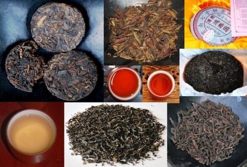 sheng und shu Pu erh Tee in unterschiedlichen Formen und FarbenDa