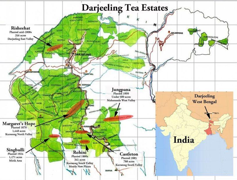 Darjeeling Tea - Map of Darjeeling with tea estates marked