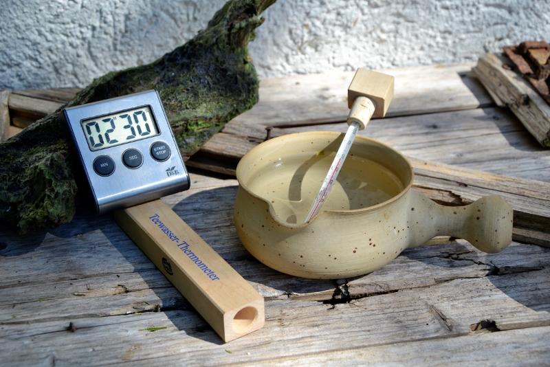 Teeuhr + Teewasserthermometer