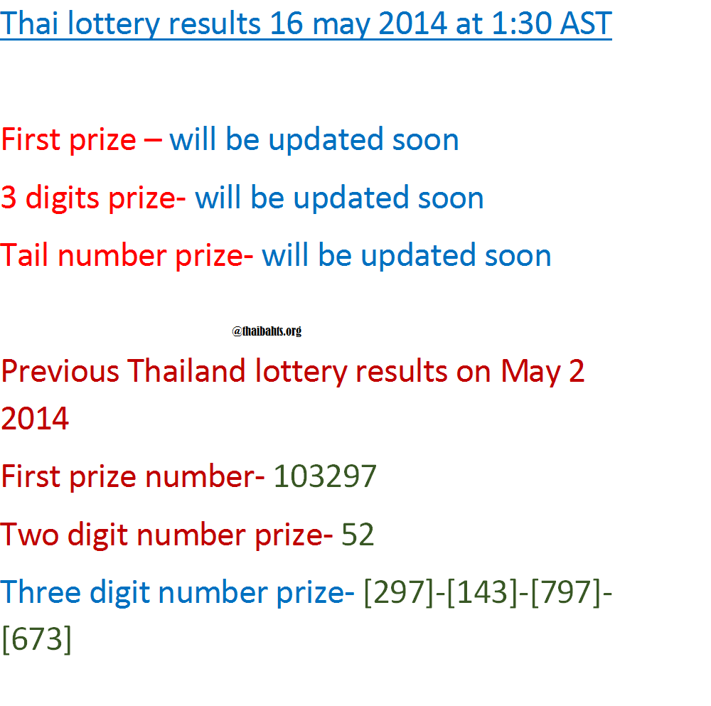 Thai lottery results 16 may 2014 announcement