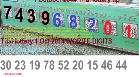 Thai lottery results 1 October 2014 Favorite digits