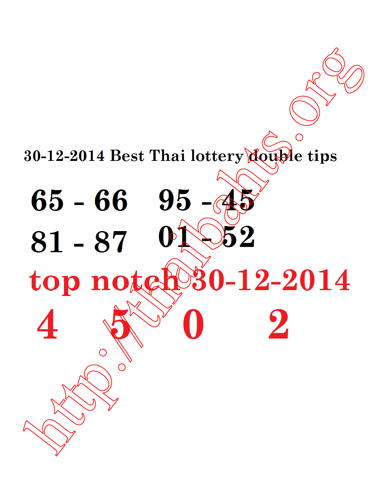 Thai lottery results 30-12-2014 top notch tip