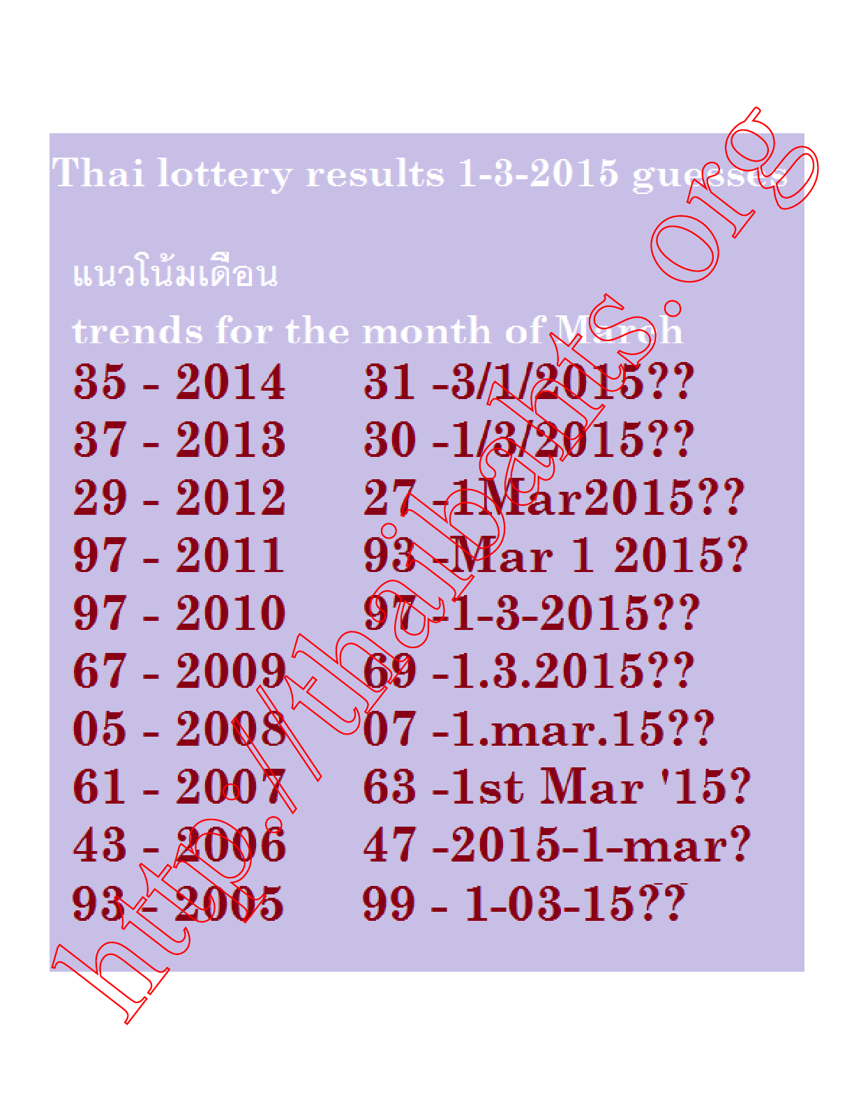 1-3-2015 Thai lottery best tail tip