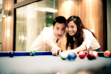 Bangkok, Thailand - Thai couple having fun during their engagement photo shoot.