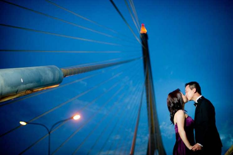 Pre-wedding pictures taken on Rama VIII suspension bridge in Bangkok, Thailand.