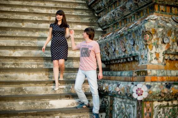 Tatiana and Alex's Wat Arun pre-wedding (prenuptial, engagement session) in Bangkok, Thailand. Wat Arun_Bangkok_wedding_photographer__1356.TIF