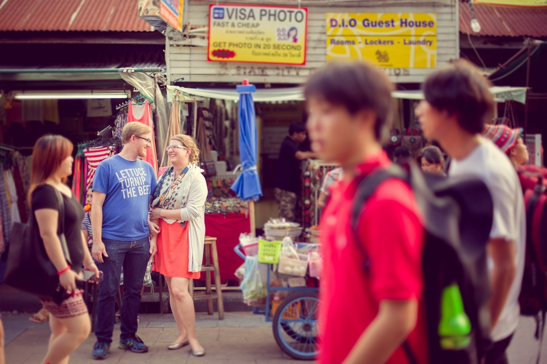 Candace and Nick's Khaosan Road pre-wedding (prenuptial, engagement session) in Bangkok, Thailand.