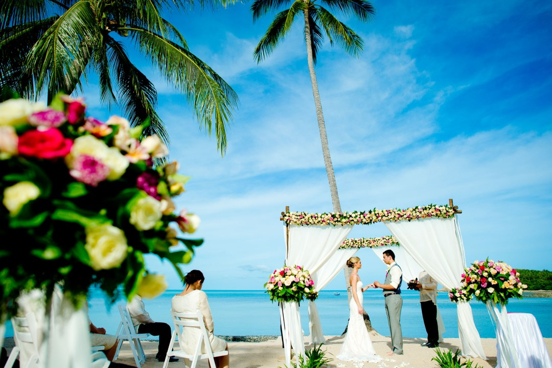 Destination wedding photo taken at Nora Beach Resort & Spa in Koh Samui, Thailand.