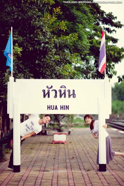 Marriage proposal and pre-wedding session at Hua Hin Railway Station (Hua Hin Train Station) in Hua Hin, Thailand.