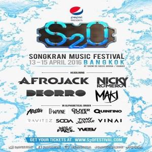 S2O Songkran Music Festival Bangkok 2016, DJ, Thailand, Afrojack, Nicky Romero, Makj, Vinai