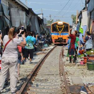 The Railway Market at at Samut Songkhram