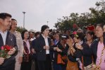 Nong Khai - Yingluck Shinawatra with supporters