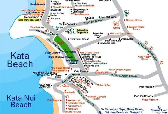 Карта пляжей Ката Ной и Ката Бич