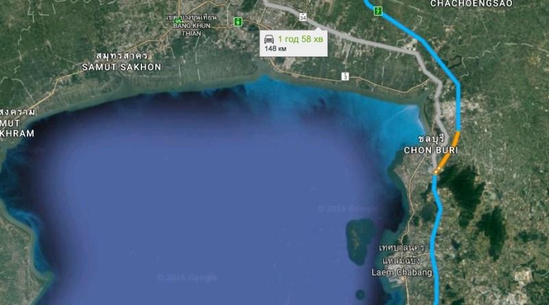 Расстояние от Бангкока до Паттайи
