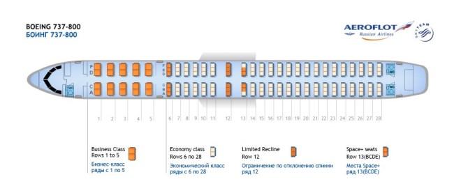 Схема салона «Боинг 737-800» в авиакомпании «Аэрофлот»